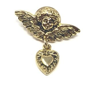 Vintage Pin Angel Heart Dangle Costume Tiny